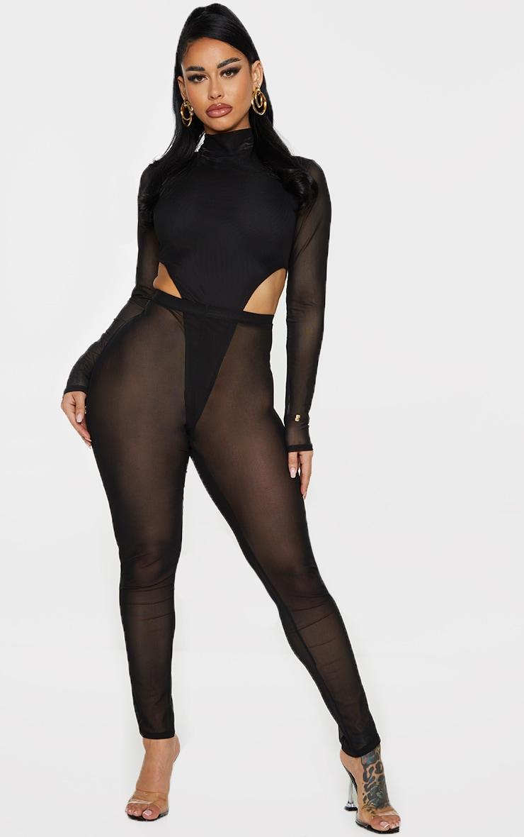 Shape Black Sheer Mesh Ruched Bum Leggings 1