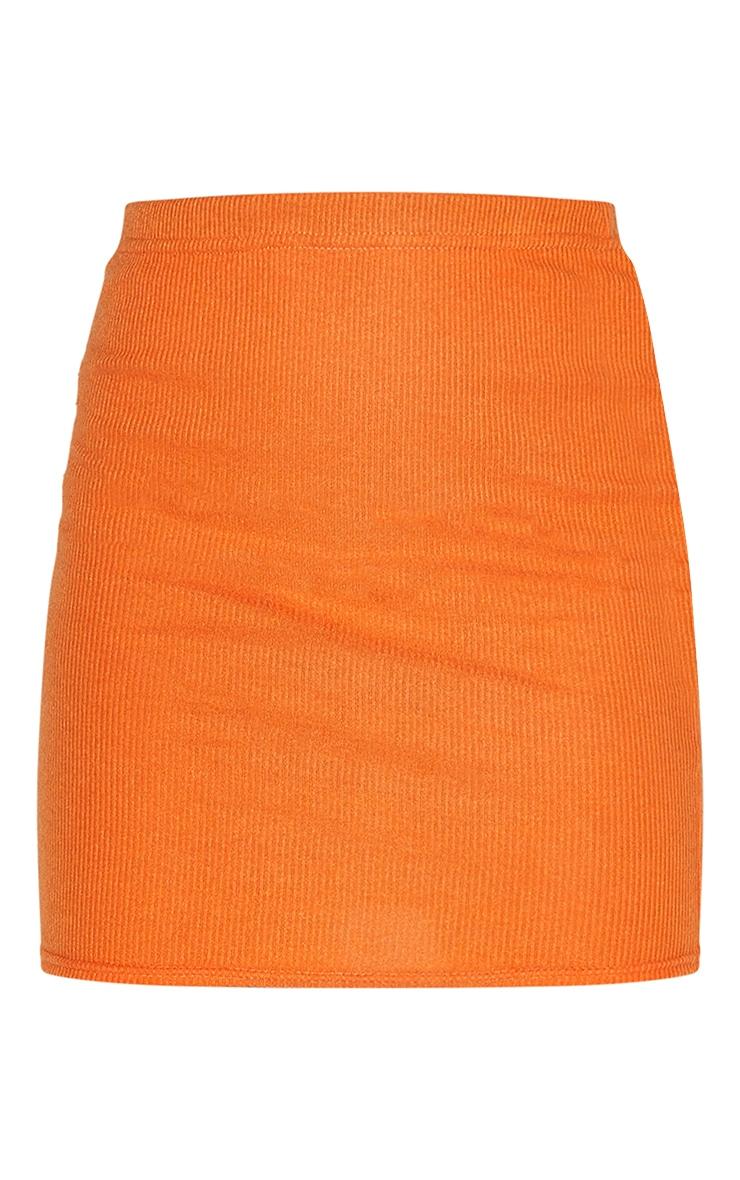 Bright Orange Soft Brushed Rib Mini Skirt 6