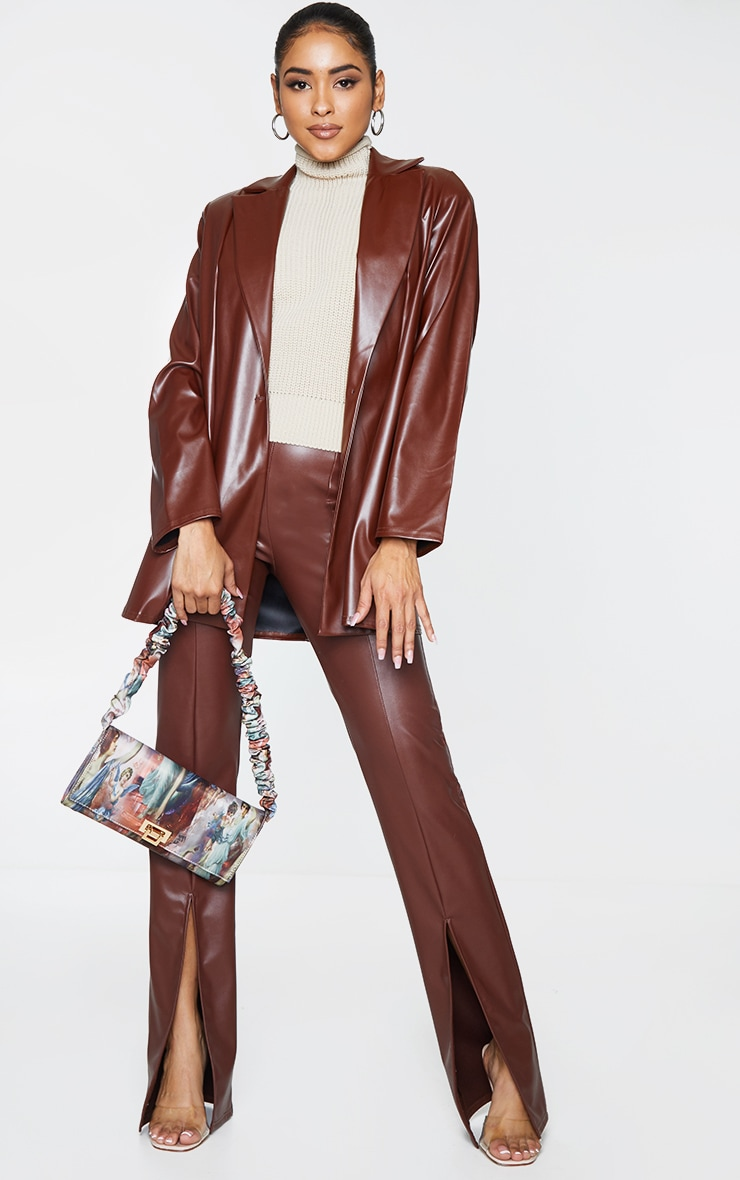 Chocolate Longline Lapel Detail Faux Leather Blazer 3