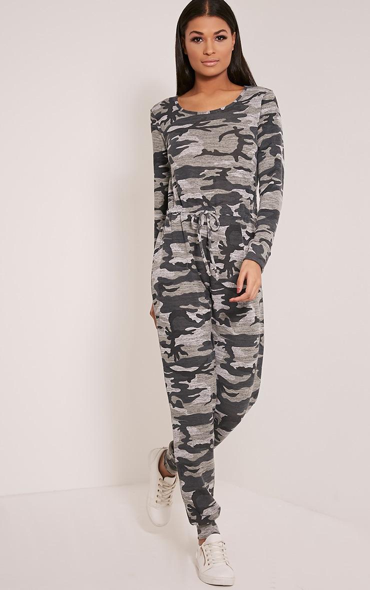Lottie Grey Camouflage Long Sleeve Casual Jumpsuit 5