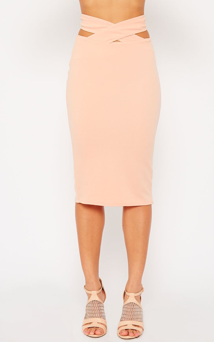 Shanel Nude Cut Out Midi Skirt 2
