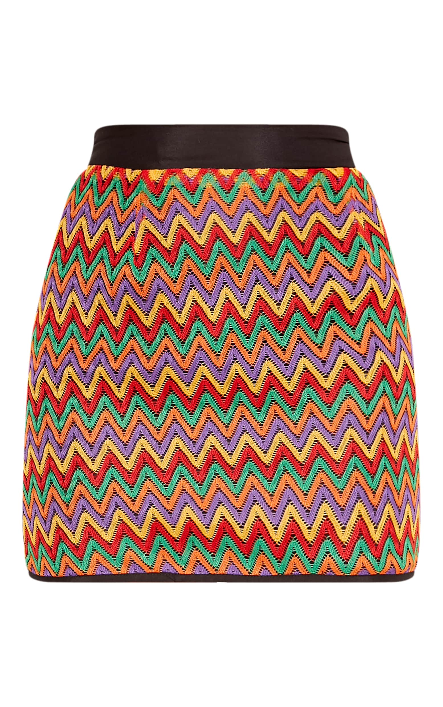 Amette Red Chevron Mini Skirt  3