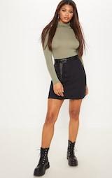 Tall Black High Waisted Denim Skirt 5