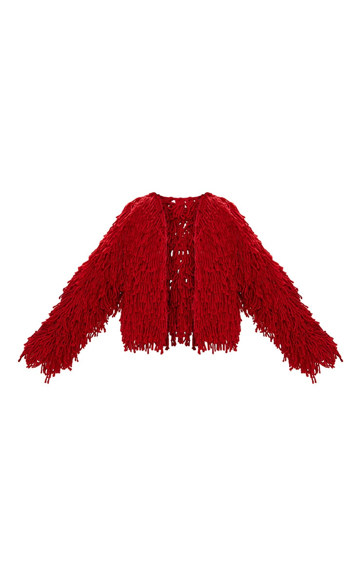 Red Shaggy Knit Cropped Cardigan 3
