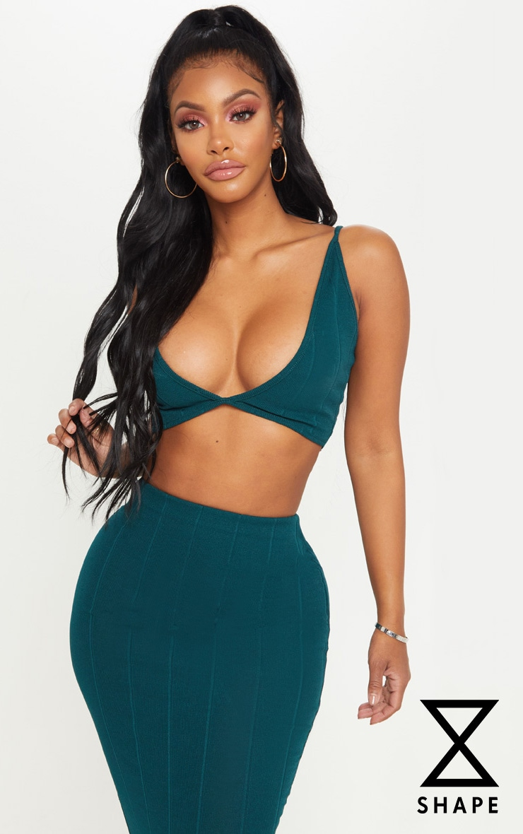 Shape Emerald Green  Bandage Strappy Crop Top 1