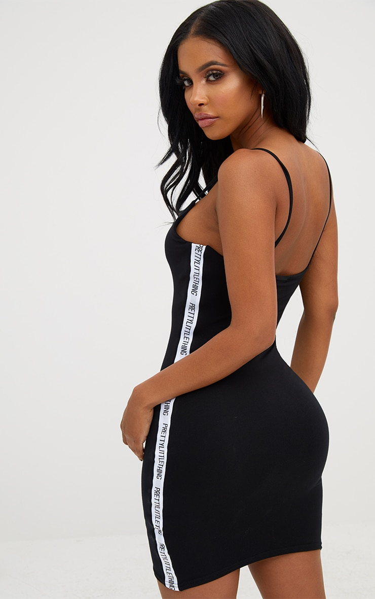PRETTYLITTLETHING Shape Black Band Cami Dress 3