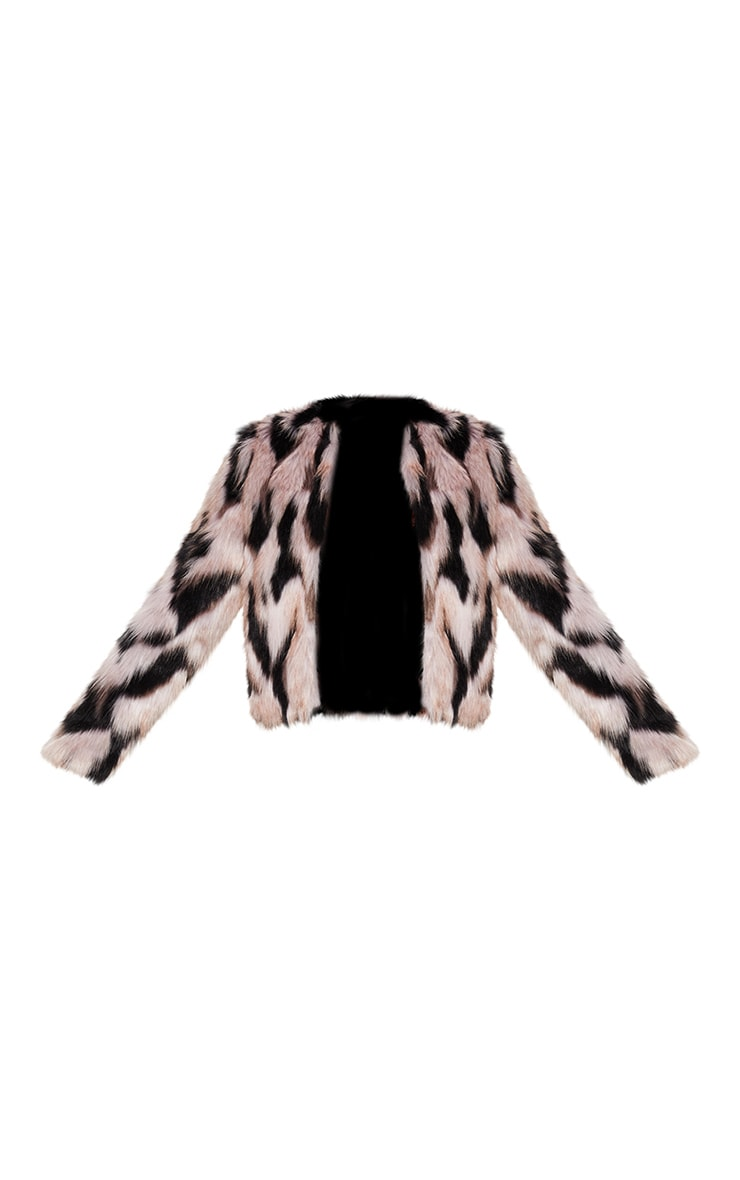 Pink Cropped Multi Faux Fur Coat 3