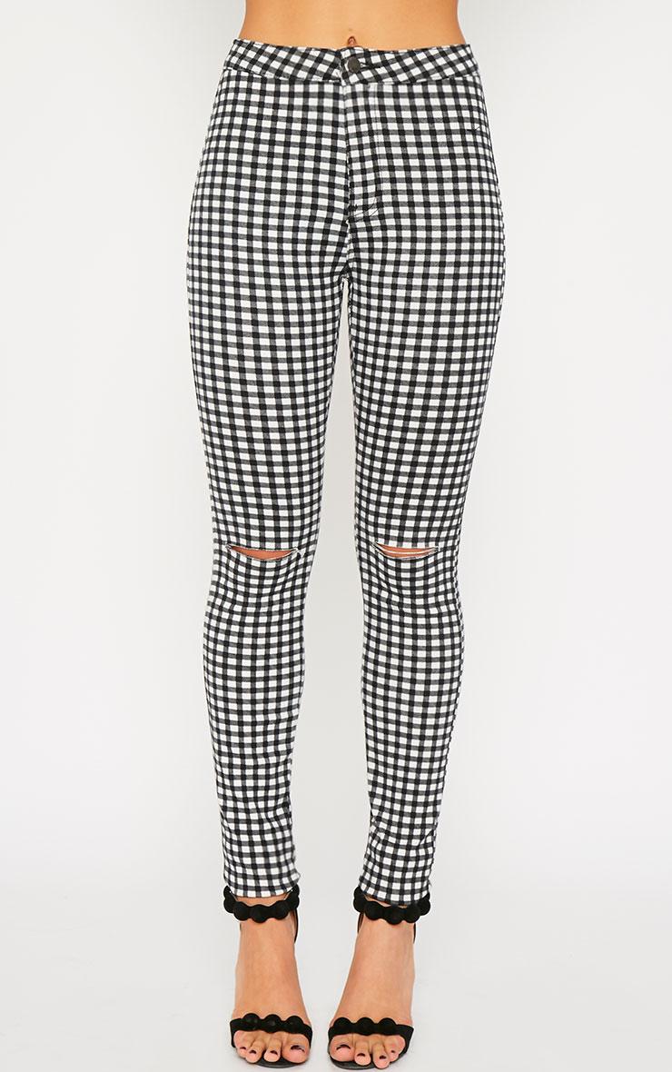 Jordan Monochrome Gingham Ripped Jeans 2