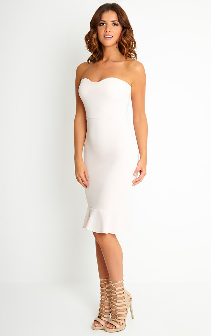 Helina Nude Bandeau Drop Hem Midi Dress 4