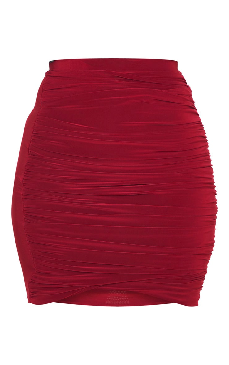 Burgundy Ruched Layered Slinky Mini Skirt 4