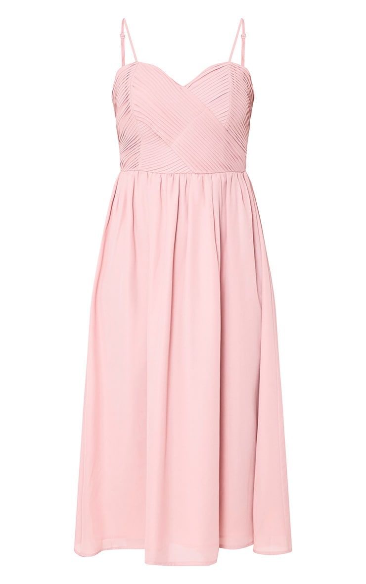 Gracelyn Dusty Pink Pleat Detail Midi Dress  3