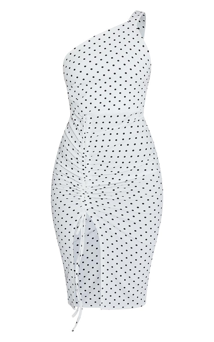 White Polka Dot One Shoulder Ruched Detail Midi Dress 5