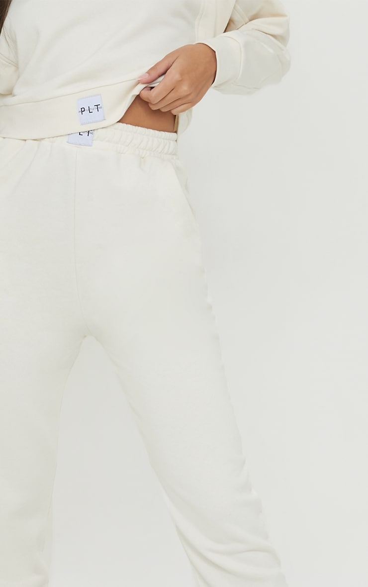 PRETTYLITTLETHING Cream Badge Detail Cuffed Joggers 4