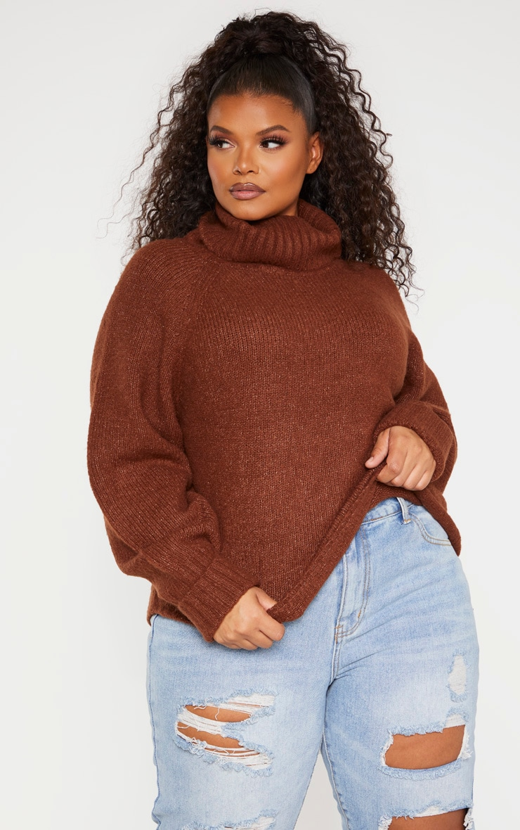 Plus Brown Cowl Neck Mid Length Jumper  1