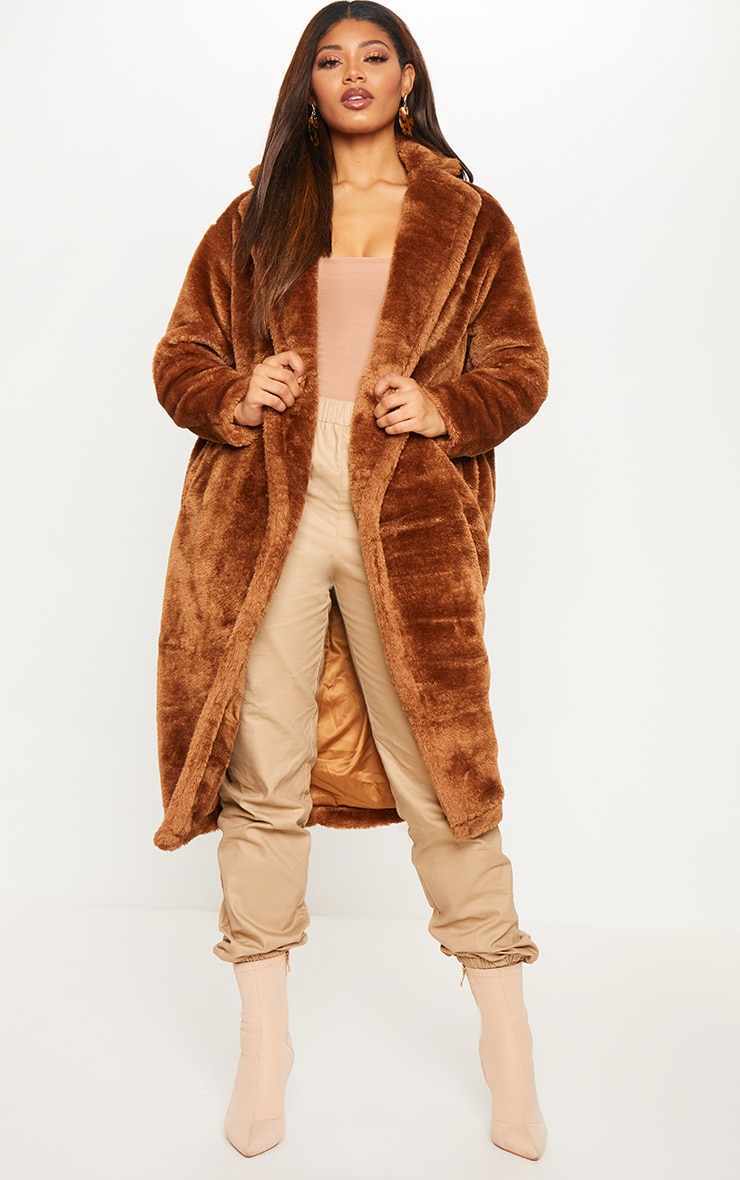 Tall Brown Faux Fur Long Line Coat 1
