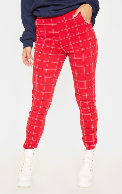 Red Check Skinny Trousers