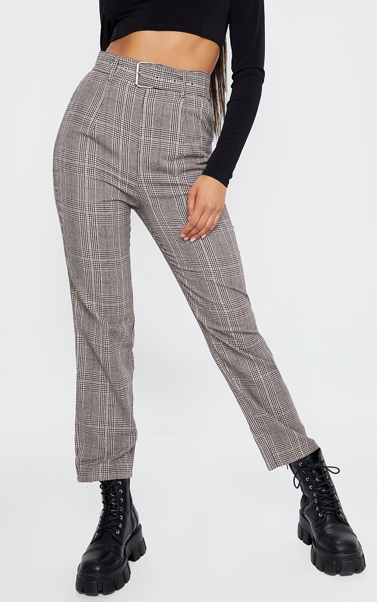 Brown Woven Check Belted Cigarette Pants 2