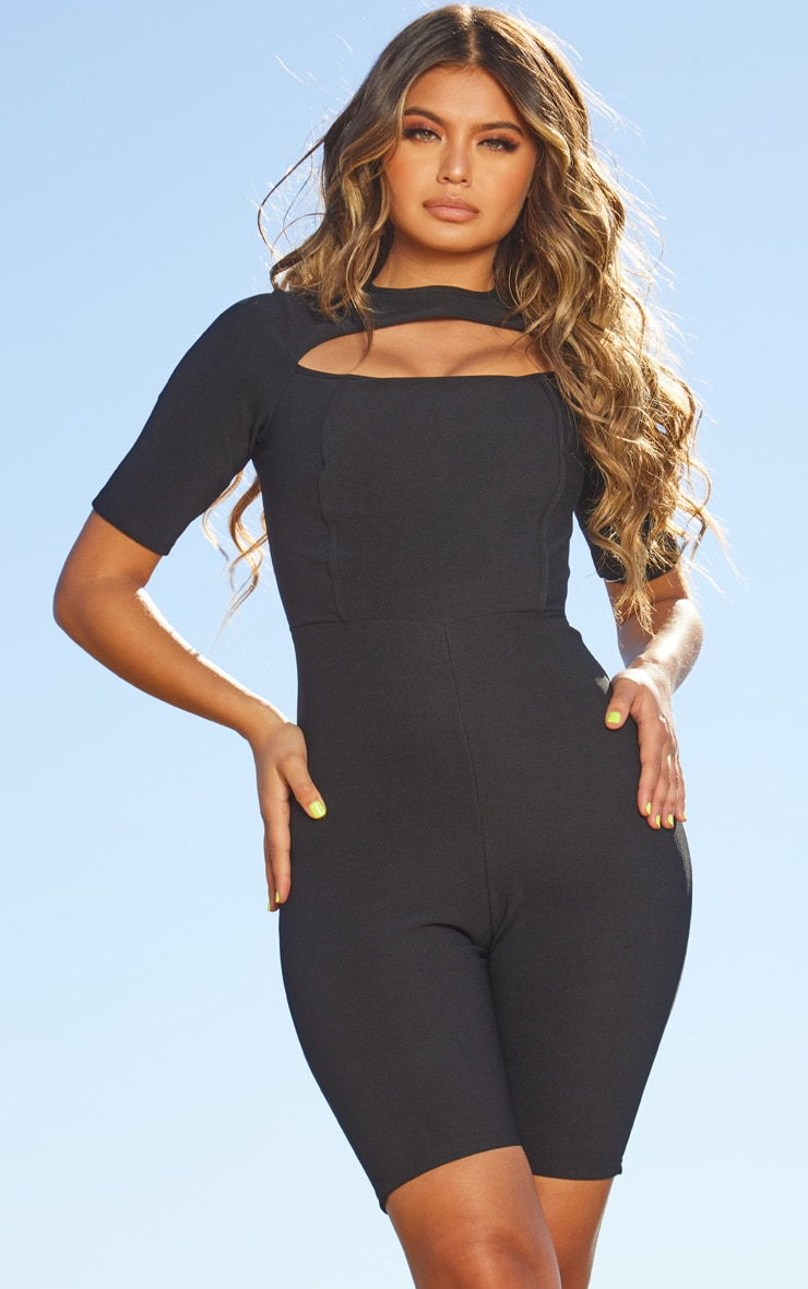 Black Second Skin Cut Out Short Sleeve Unitard
