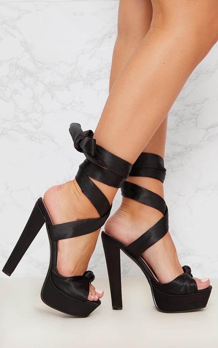 Black Satin Platform Sandal 2
