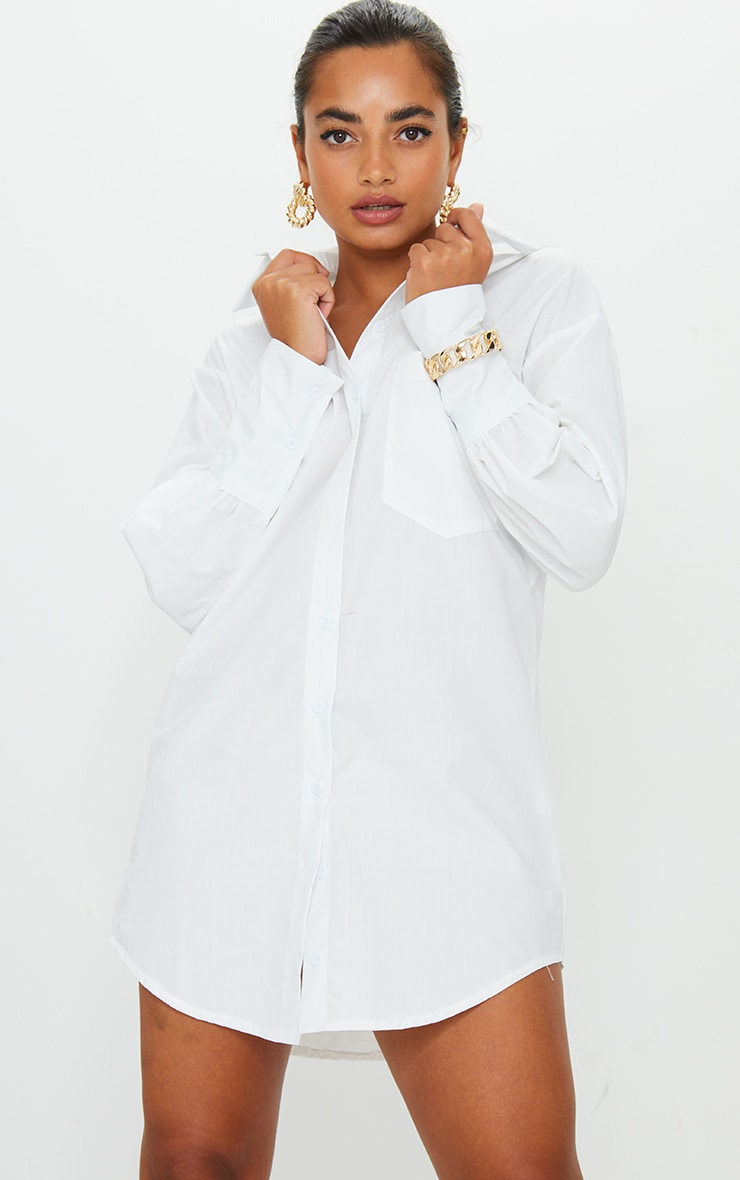 Petite White Oversized Cuff Shirt Dress 6