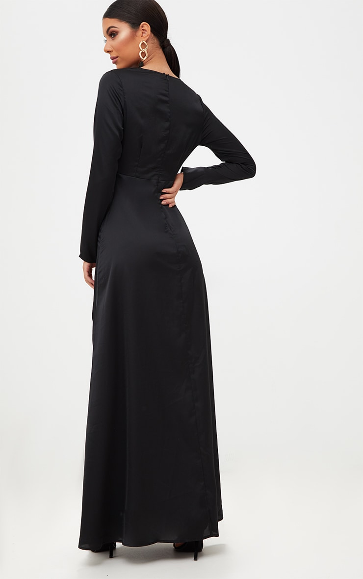 Black Satin Twist Front Maxi Dress 2