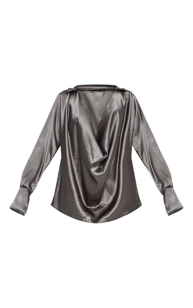 Chemise satinée kaki à col écharpe extrême 6