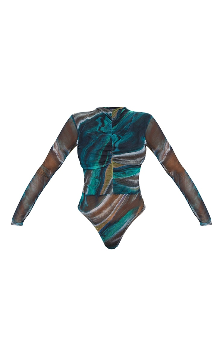 Green Abstract Printed Mesh Ruched Front Long Sleeve Bodysuit 5