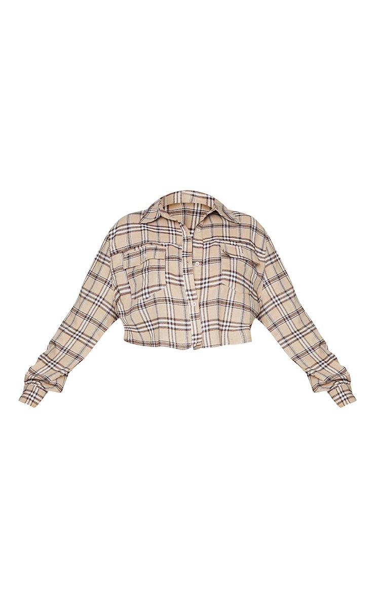 Plus Stone Cropped Check Shirt 5