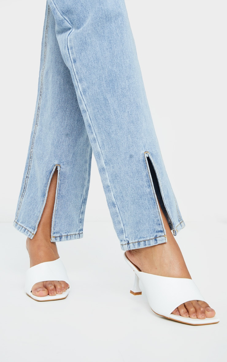 White Asymmetric Low Heel Mules 2
