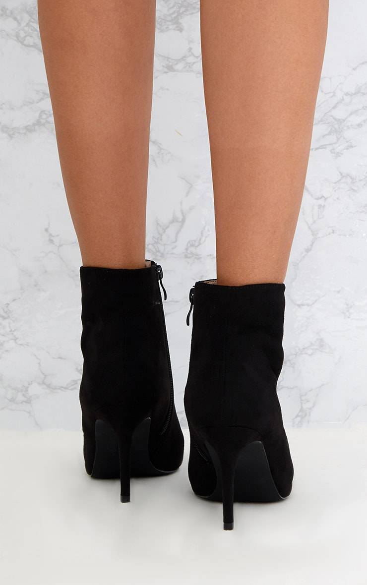 Black Mid Heel Pointed Ankle Boots 4