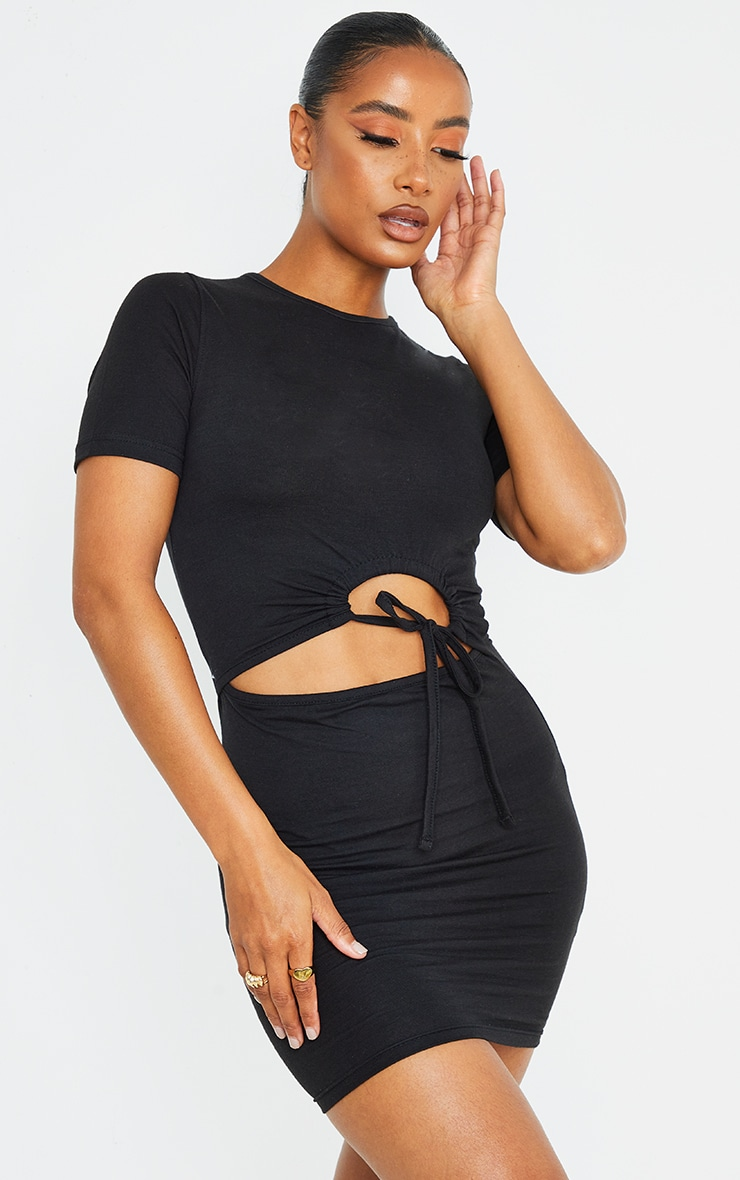 Black Cotton Ruched Cut Out Short Sleeve Bodycon Dress 1