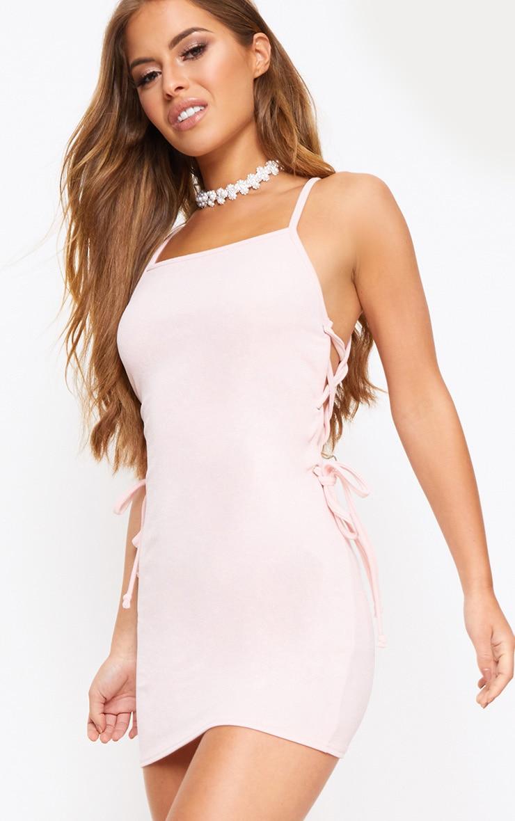 Petite Pink Lace Up Side Mini Dress 1