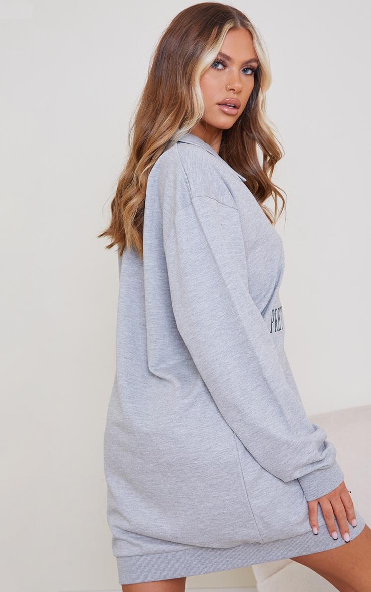 PRETTYLITTLETHING Grey V Neck Collar Sweat Jumper Dress 2