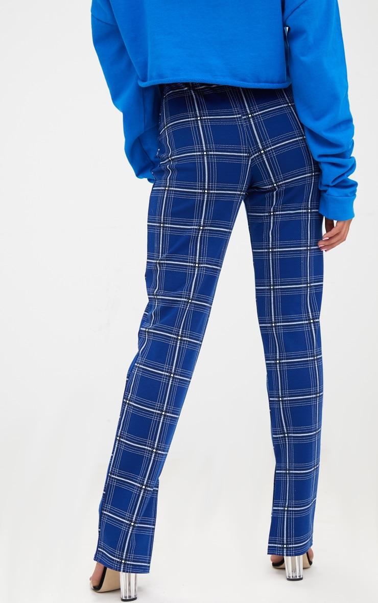 Petite Blue Checked Split Hem Trousers 4