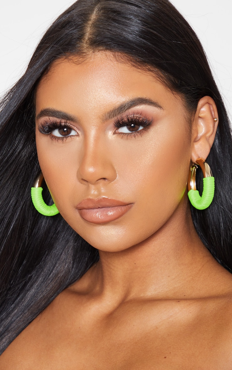 Neon Green Rope Hoop Earrings 3