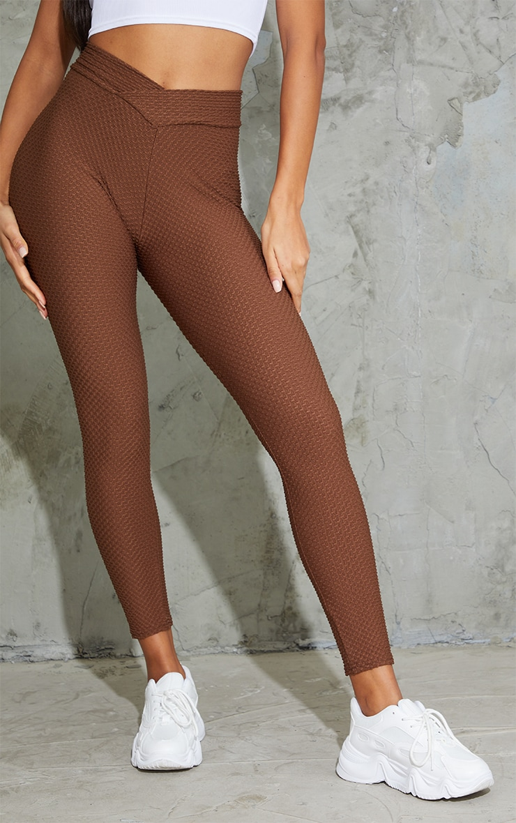 Chocolate V Waist Textured Leggings 2