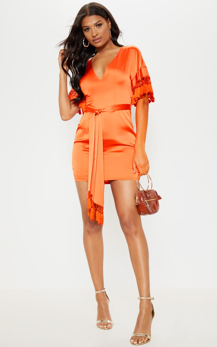 Orange Satin Tassel Tie Waist Bodycon Dress 4