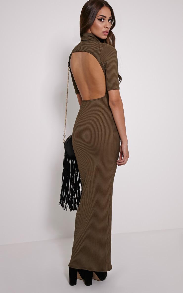 Daria Khaki Open Back Ribbed Maxi Dress 1