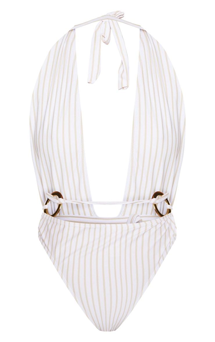 White Halterneck Striped Ring Belted Swimsuit 5
