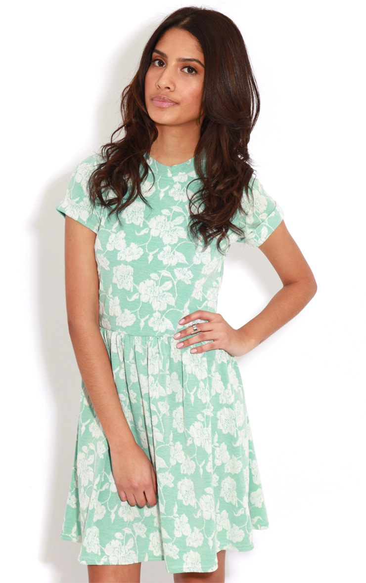 Eloise Mint Floral Dropped Hem Dress 4
