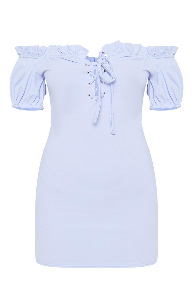 Baby Blue Lace Up Eyelet Detail Bardot Dress 3