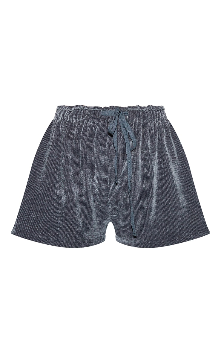 Charcoal Mix And Match Luxe Rib Velour PJ Shorts 6