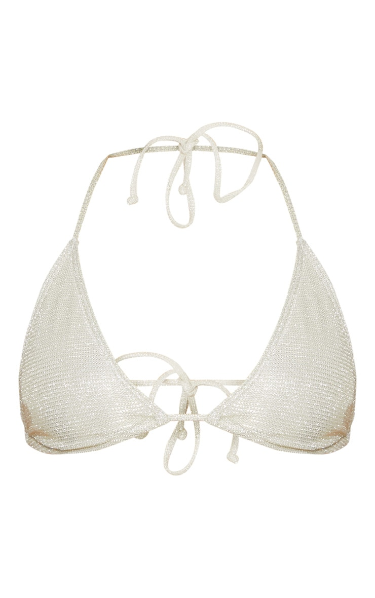 Gold Glitter Wrap Around Triangle Bikini Top 3
