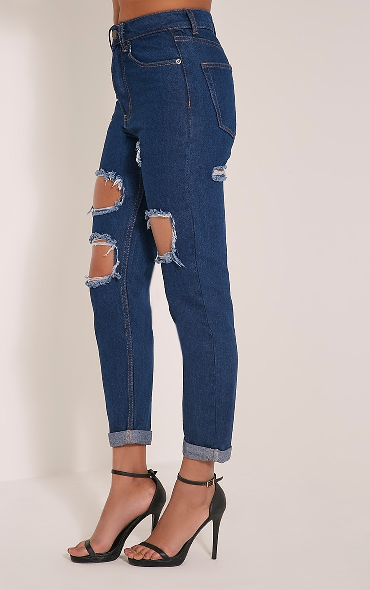 Carley Blue Dark Wash Extreme Rip Straight  Leg Jeans 4