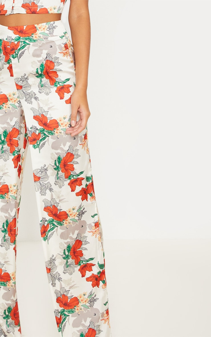 Satin Floral Print Wide Leg Trouser 5