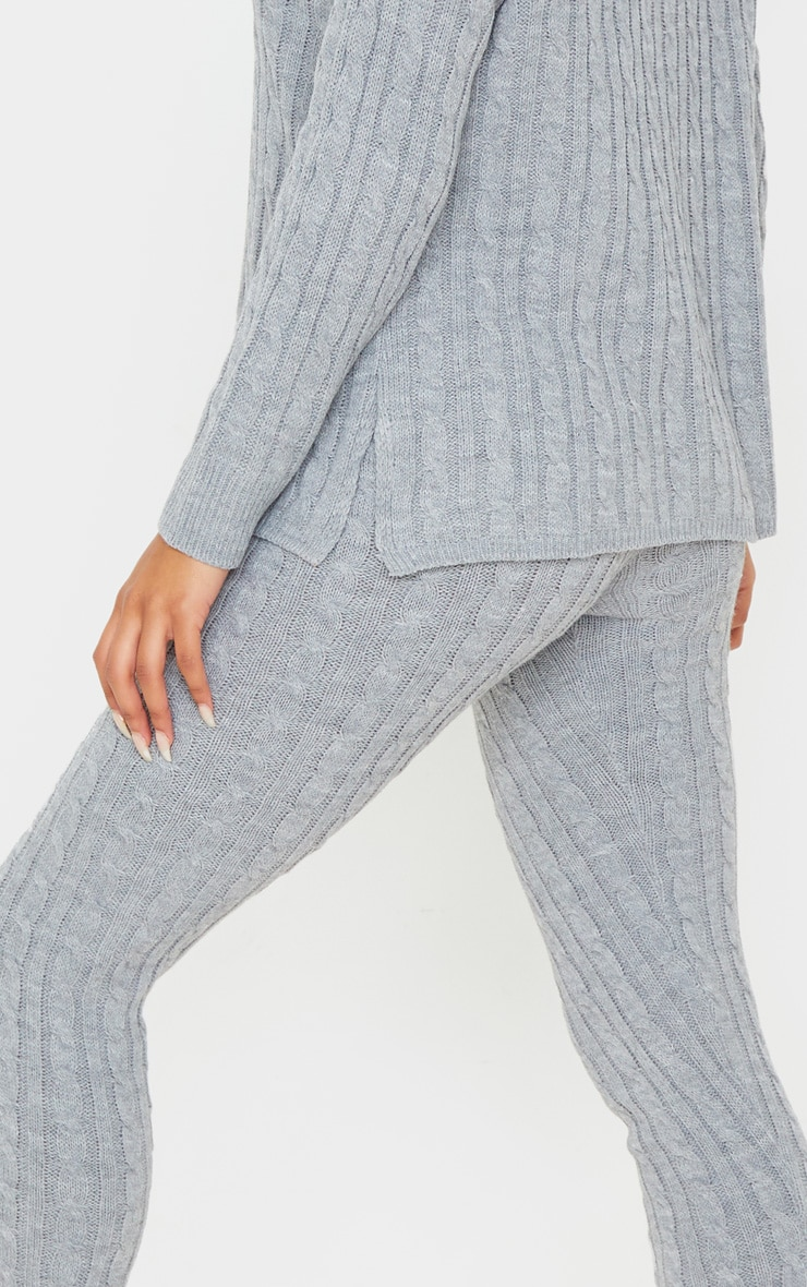 Grey Cable Knit Roll Neck And Legging Set 5