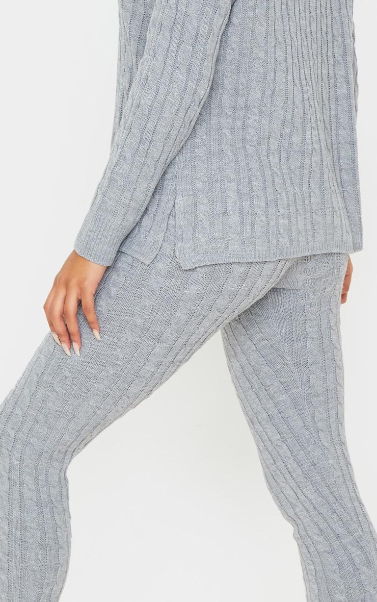 Ensemble pull à col roulé & legging en grosse maille grise 5