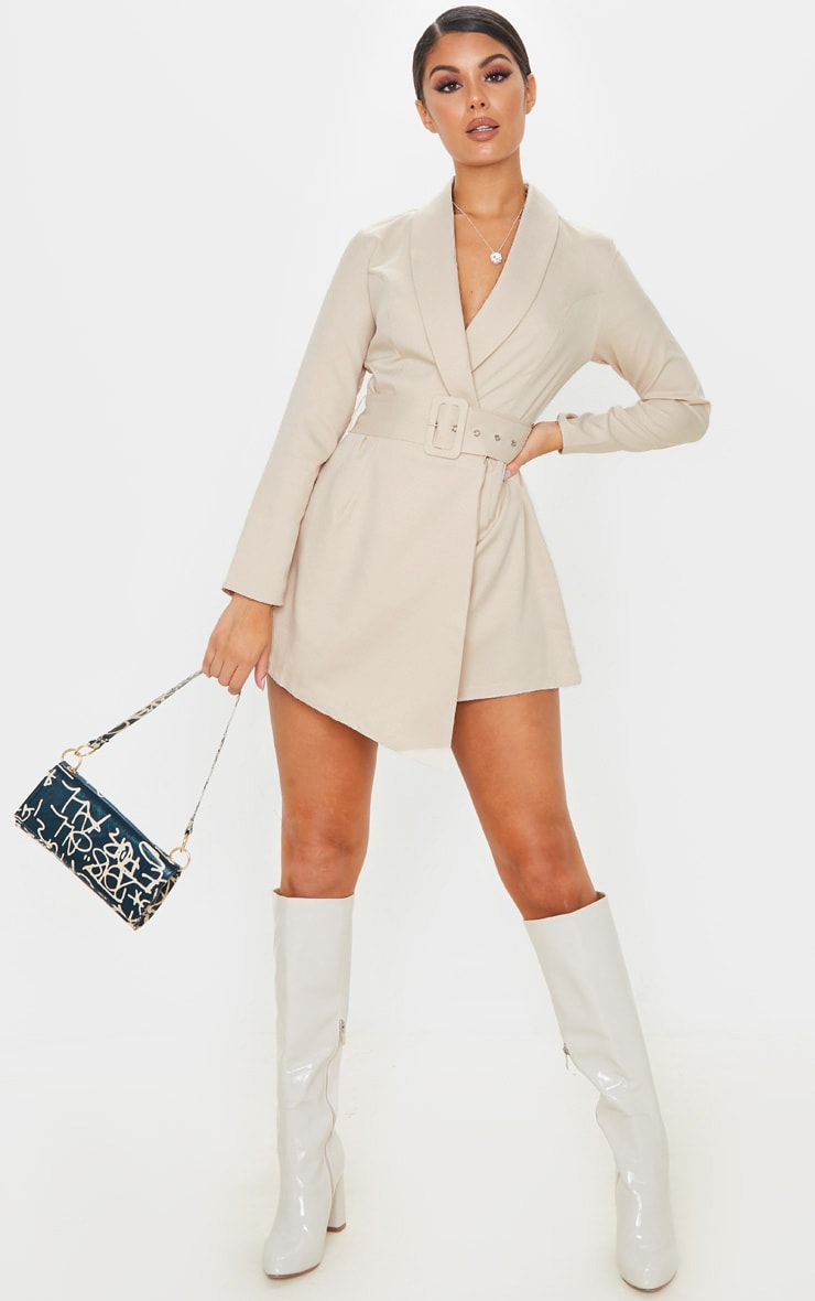 Nude Long Sleeve Tailored Belted Romper 4