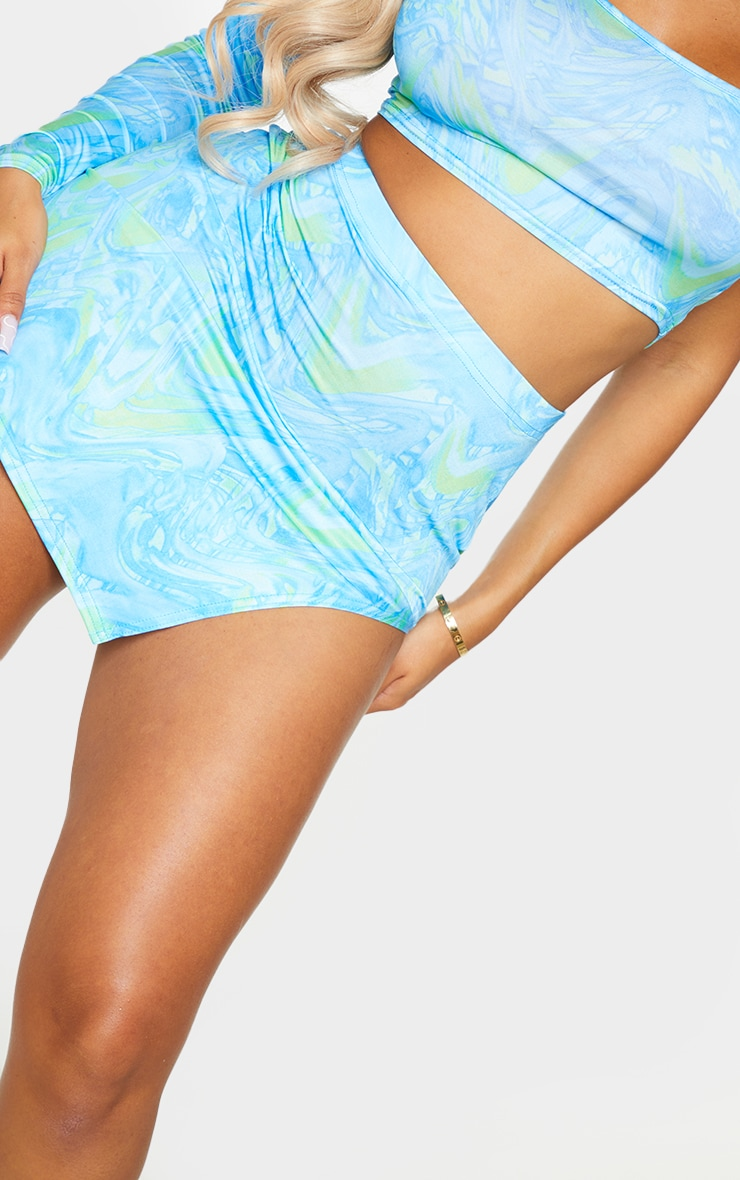 Shape Blue Wave Print Slinky Split Side Bodycon Skirt 5