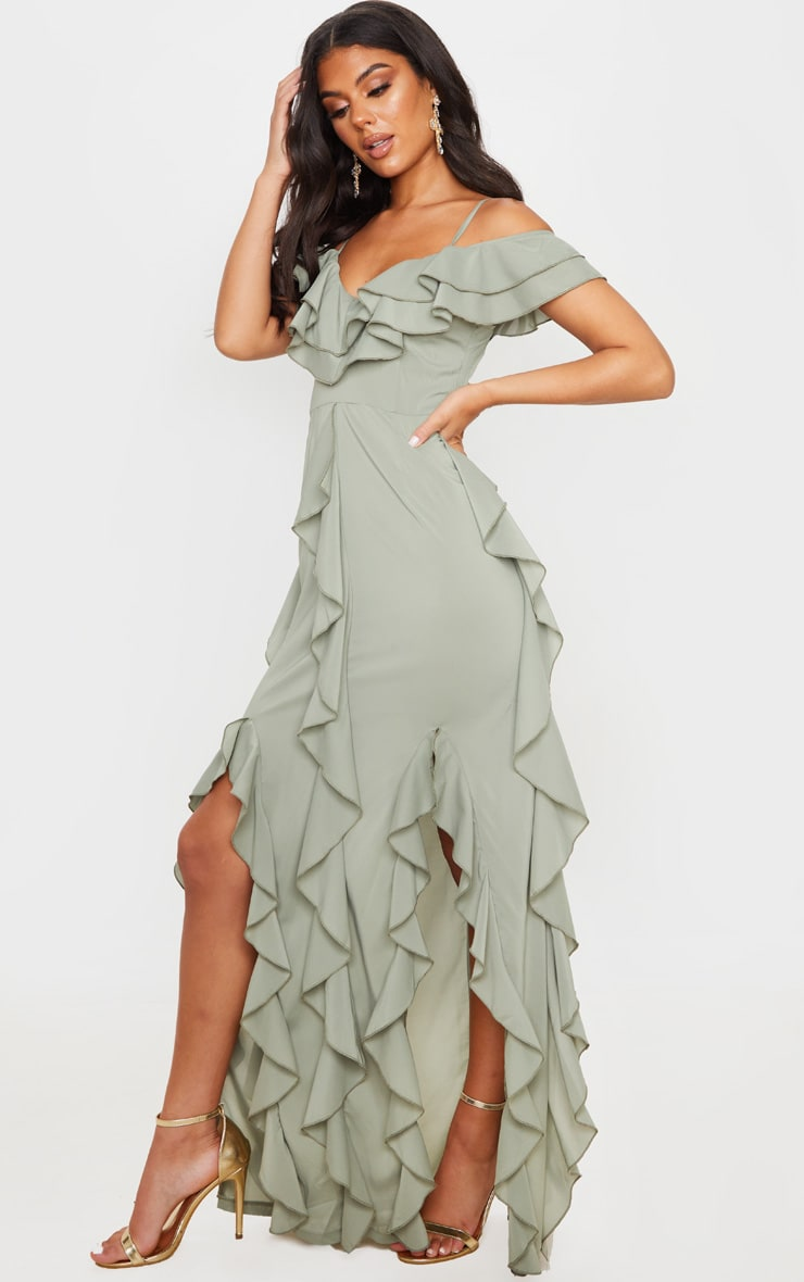 Sage Green Cold Shoulder Ruffle Detail Maxi Dress 3